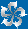 DTC logo, a white rose as a folded protein structure