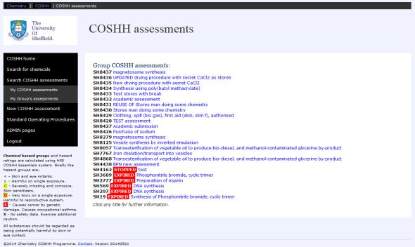 COSHH 2014 screenshot
