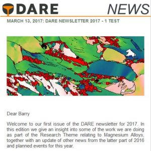 Screenshot of the DARE Newsletter at Mobile screen dimensions.